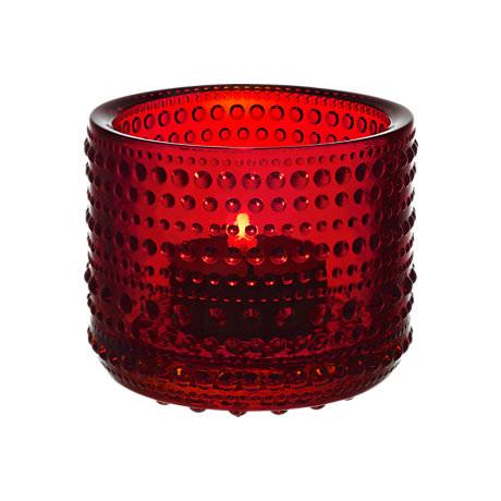 Iittala Kastehelmi Candleholder Cranberry