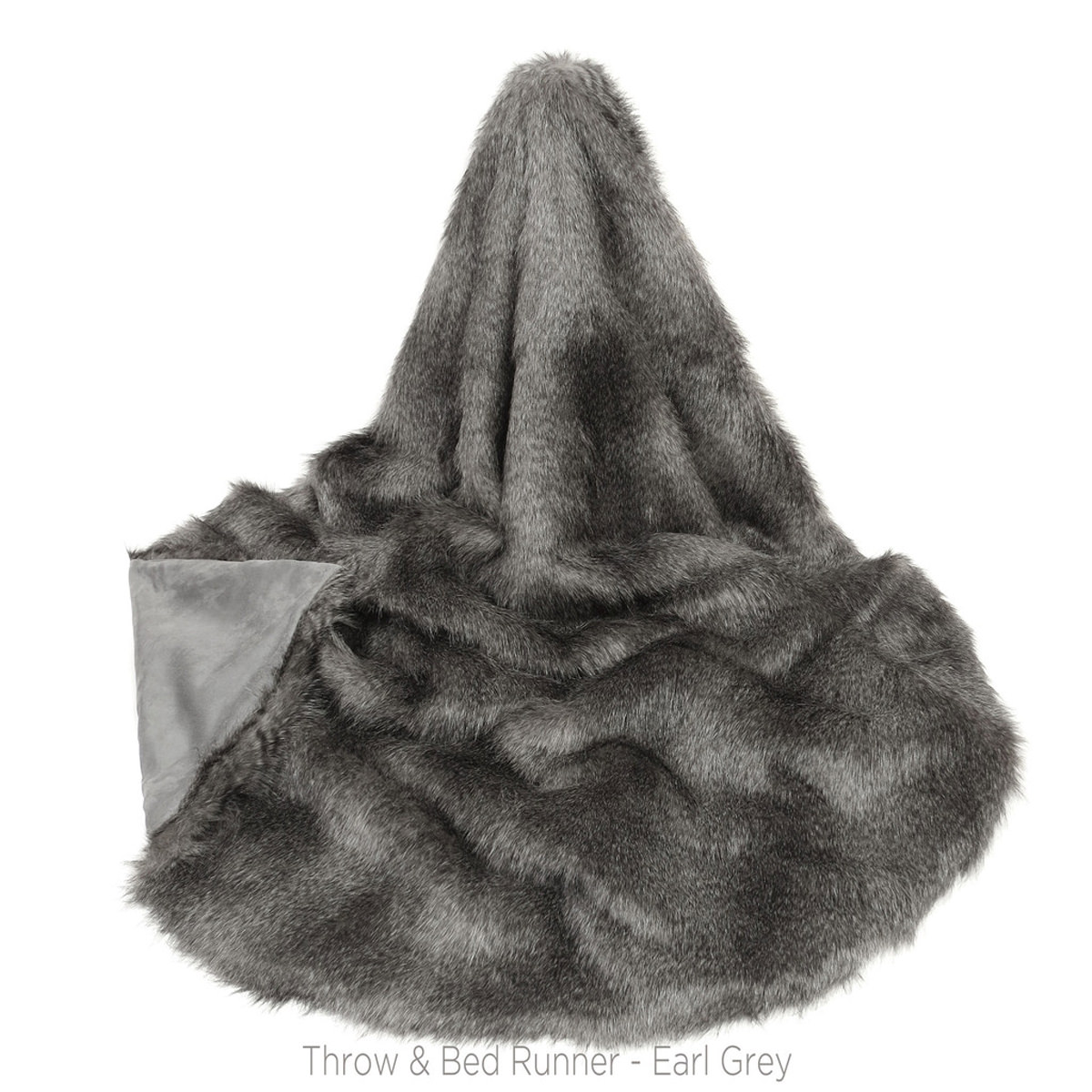 Faux Fur Earl Grey Throw